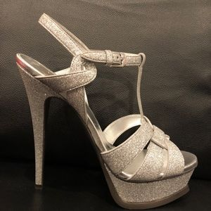 9fee4e024fa Saint Laurent Shoes - Yves Saint Laurent YSL Tribute 105 Silver Glitter